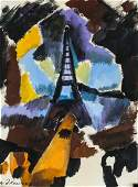 Robert Delaunay French Modernist Oil on Paper