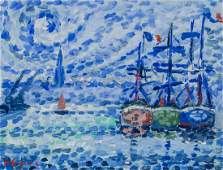 Paul Signac French NeoImpressionist Oil on Paper