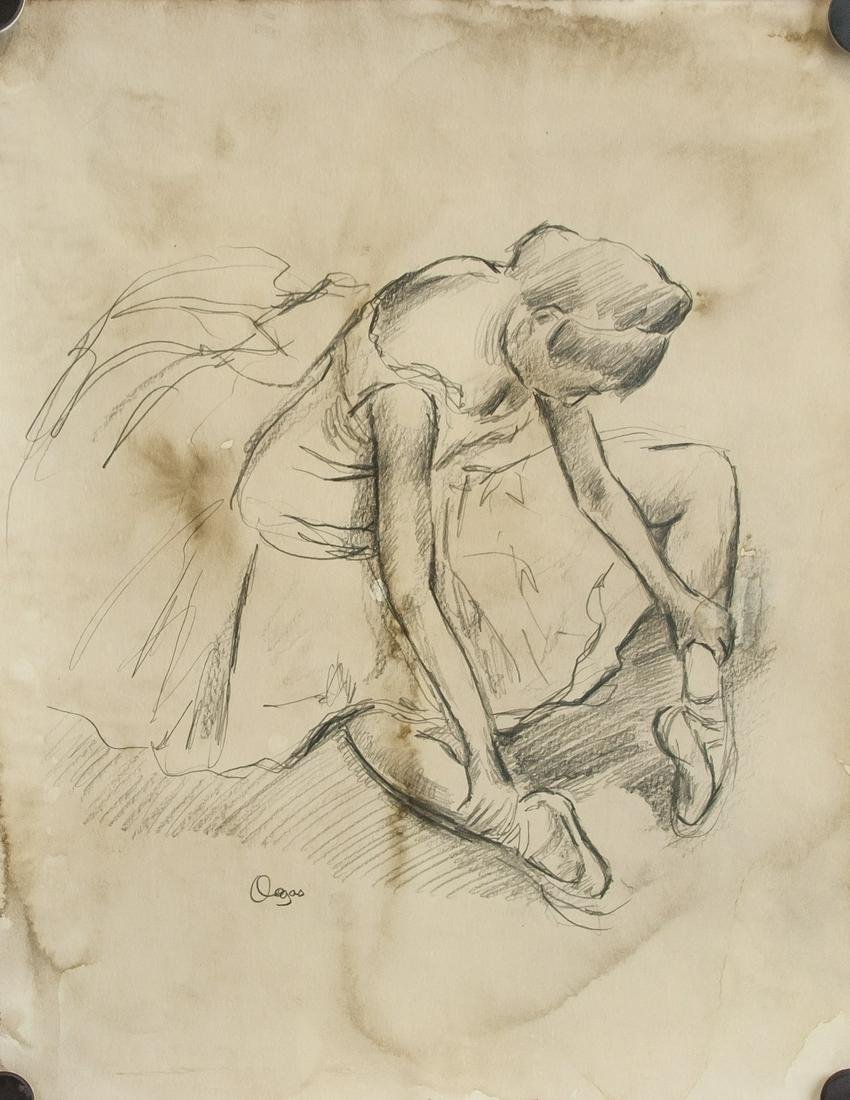 French Impressionist Graphite Signed Degas
