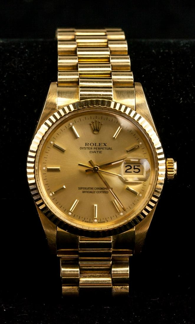 Rolex Oyster Perpetual Date 18K Gold Watch 15038 C