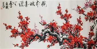 Wang Chengxi b1940 Chinese Watercolor Plum Flower