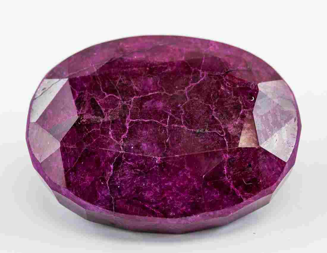 454.5 Ct Oval Cut Red Ruby Gemstone AGSL
