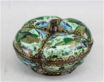 Chinese Bronze Cloisonne Pedal Shaped Lobed Box
