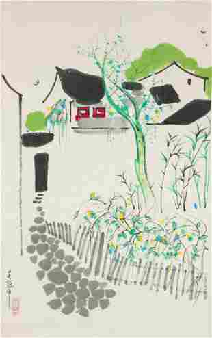 Wu Guanzhong 1919–2010 Chinese Watercolor Scroll