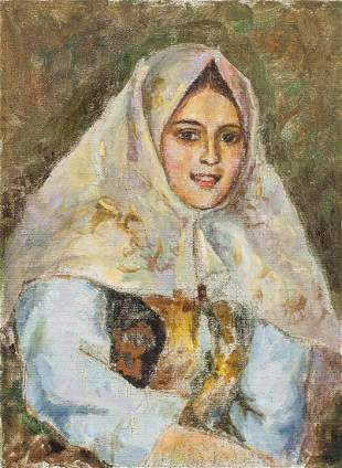 Oil on Canvas Portrait Russian Woman Signed Verso