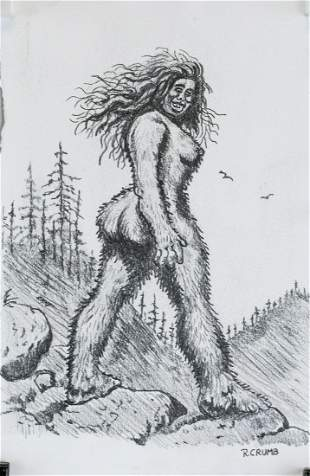 Robert Crumb American Pop Pencil on Paper Big Foot