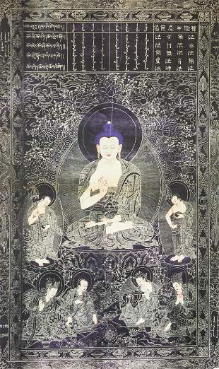 Shakyamuni Buddha and Disciples Silkscreen