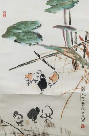 Yang Shanshen 1913-2004 Chinese Watercolor Chicken