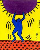 Keith Haring American Pop Art Oil on Canvas Figure