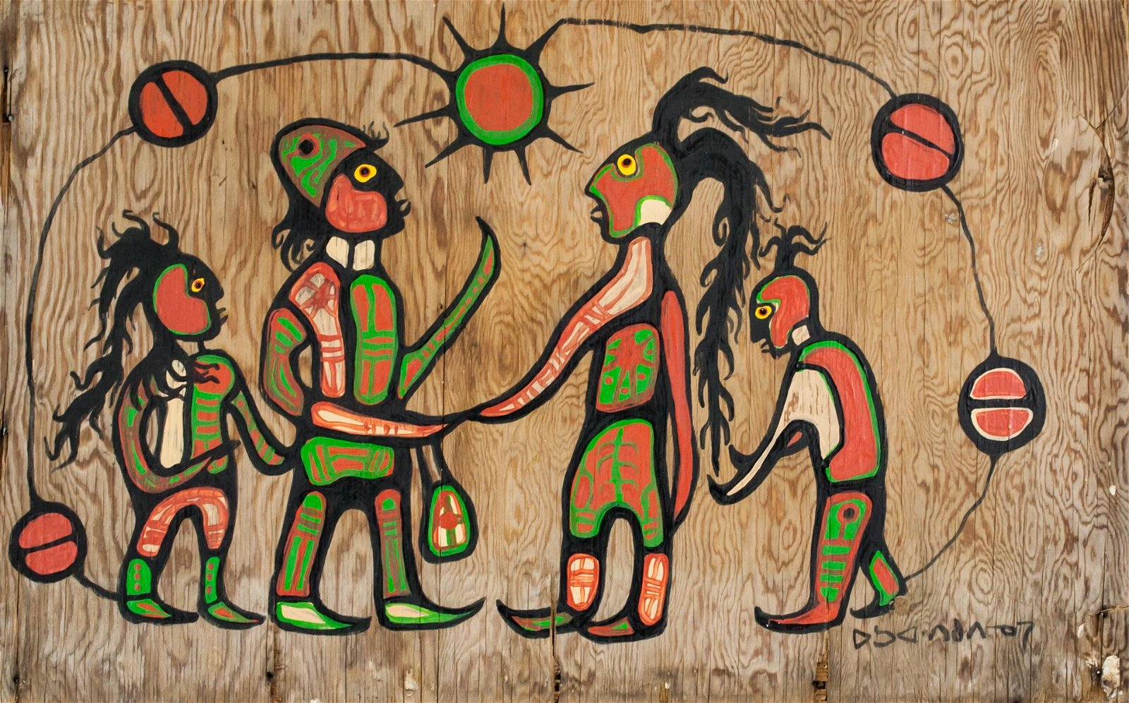 Norval Morrisseau 1932-2007 Canadian Acrylic Wood