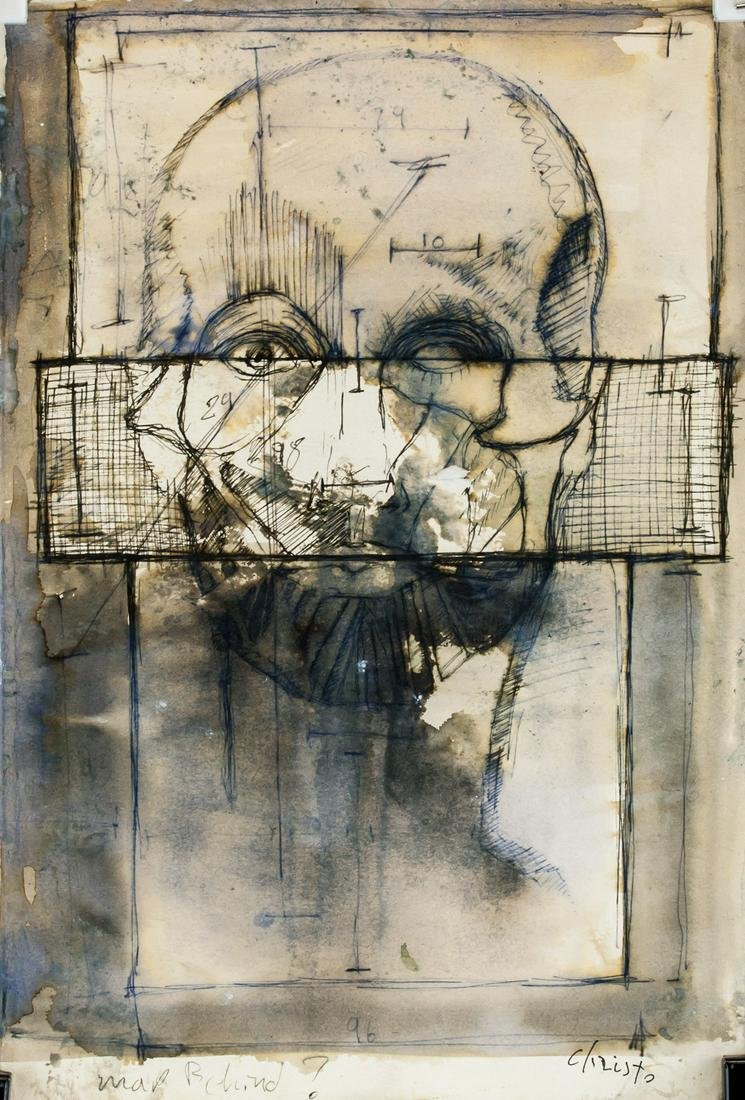Christo Mixed Media on Paper Portrait Sketch