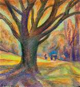 Hans Purrmann German Pastel on Paper Landscape