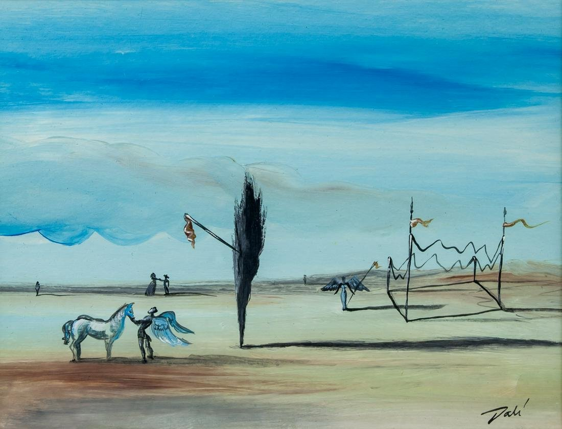 Salvador Dali Spanish Surrealist Tempera on paper
