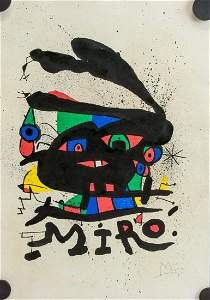 Joan Miro Spanish Surrealist Mixed Media on Paper