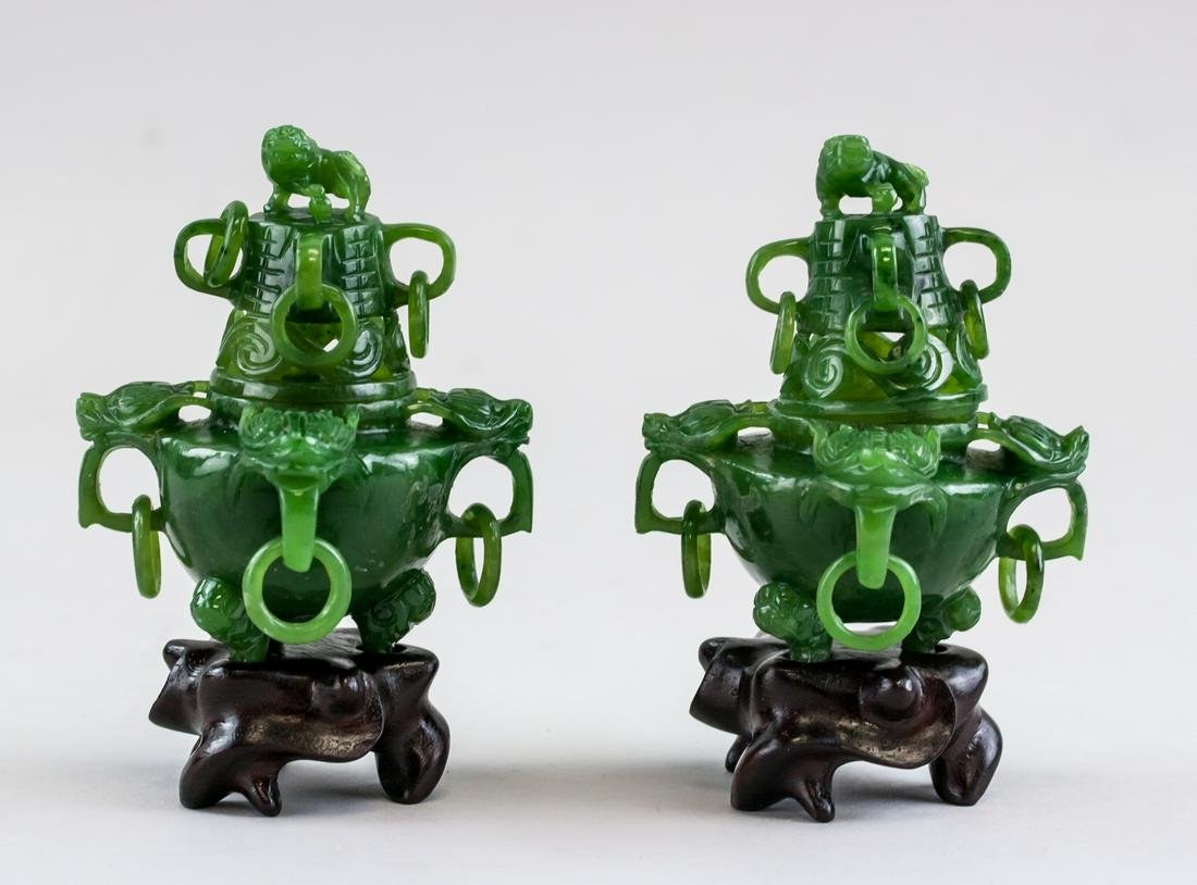 Pair Chinese Green Jade Carved Dragon Lion Censer