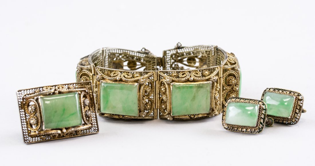 Set of Four Chinese Silver & Jade Jewellery