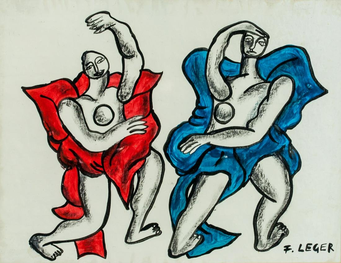 Fernand Leger French Cubist Mixed Media on Board