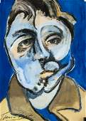 British Expressionist Tempera Signed Illegibly FB3