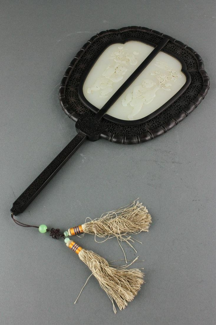 Chinese White Jade Carved Fan with Wood Frame