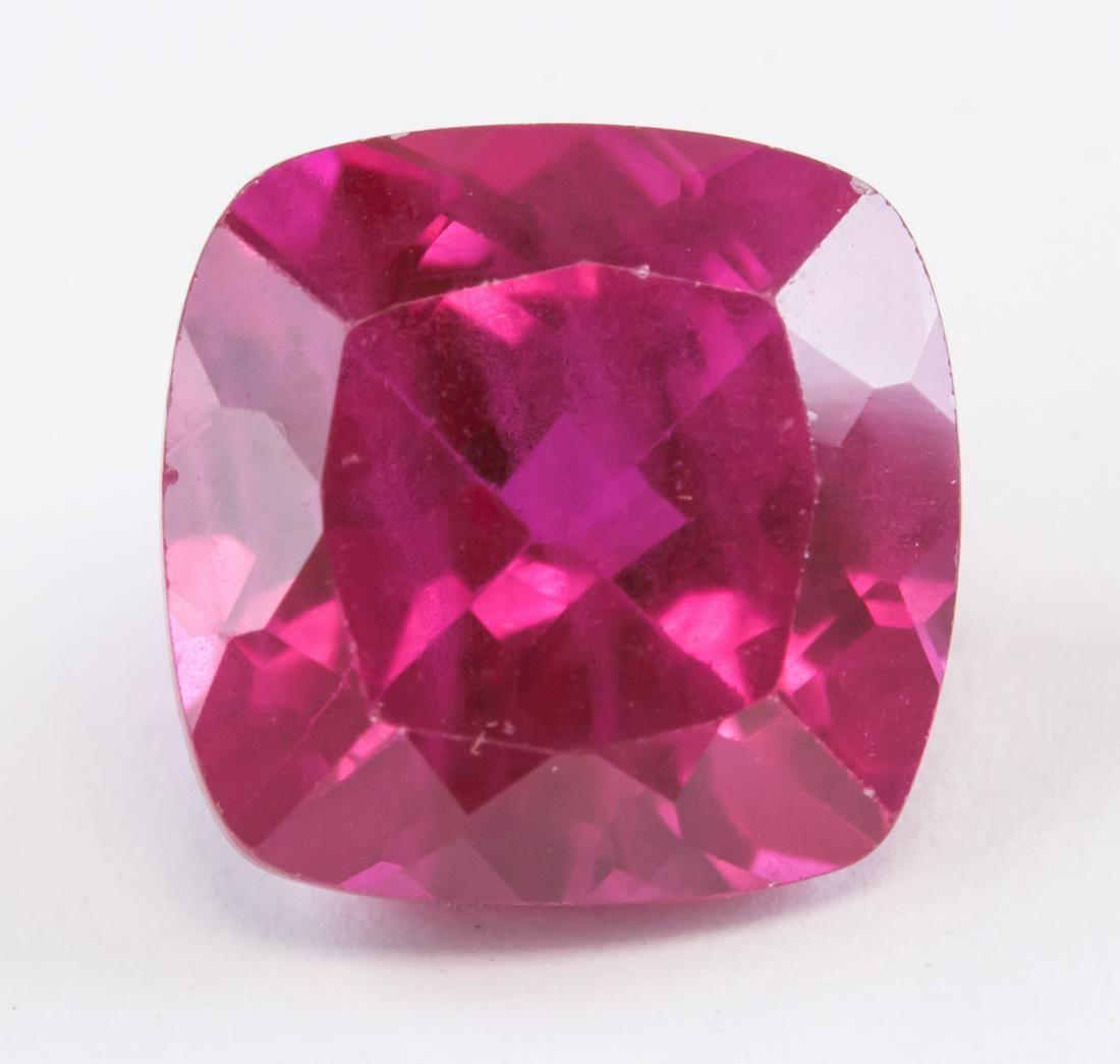 6.70 ct Pinkish Red Cushion Cut Ruby Gemstone AGSL