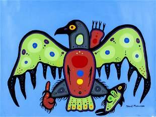 David Morrisseau Canadian Woodland Artist Acrylic