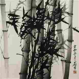 Jiasheng 20th C. Chinese Ink Bamboo Scroll