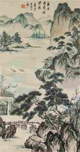 Cui Lan b.1979 Chinese Watercolor Paper Scroll