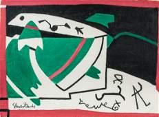 Stuart Davis American Modernist Oil on Canvas