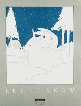 "Bob Conge ""Let it Snow"" Signed Print Two Rabbits"