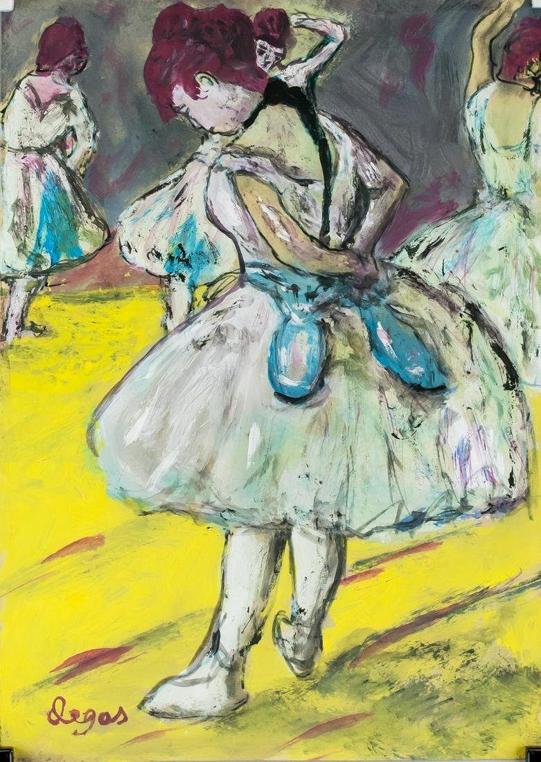 French Impressionist Gouache on Paper Signed Degas