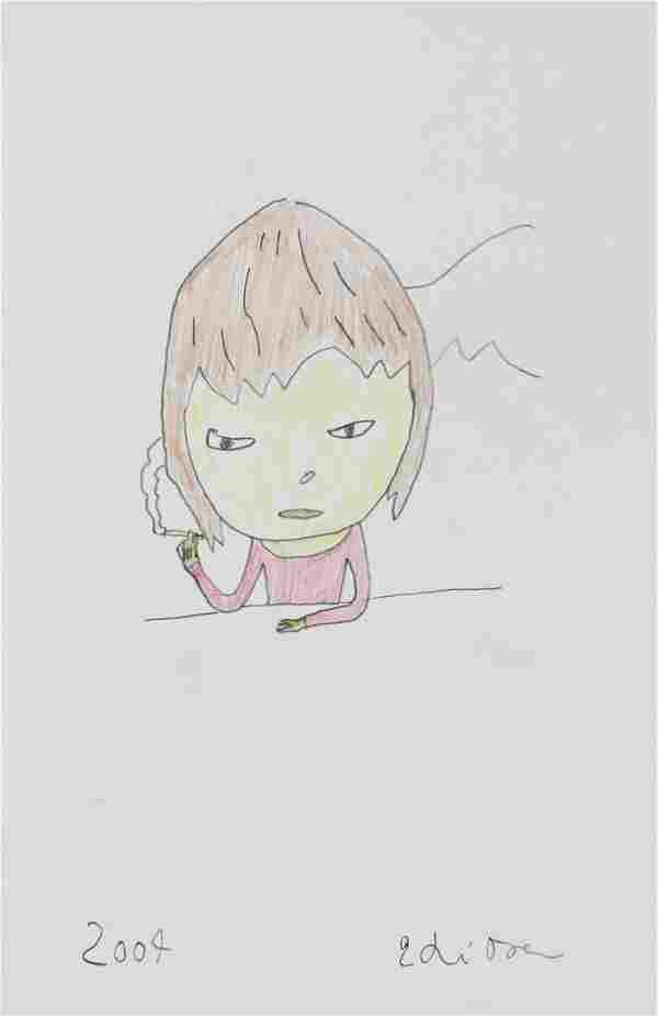 Yoshitomo Nara Japanese Pencil Paper Sketch 2004
