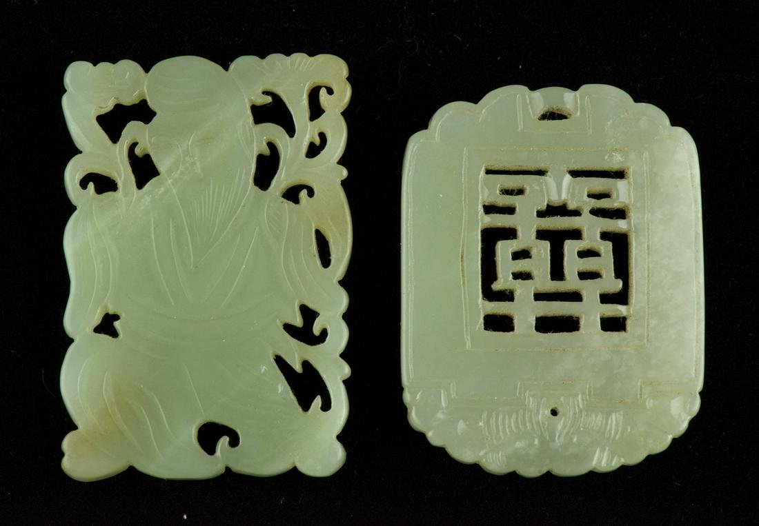 Two Pieces Celadon Jade Plaque Pendants