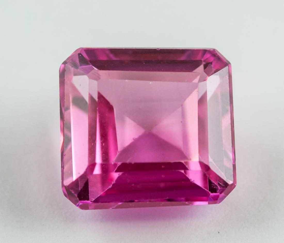 13.80 Ct Pink Emerald Cut Ruby Gemstone AGSL