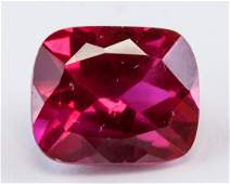 6.25ct Pinkish Red Cushion Cut Ruby Gemstone AGSL