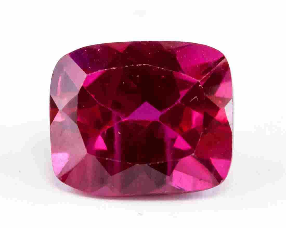 6.45ct Pinkish Red Cushion Cut Ruby Gemstone AGSL