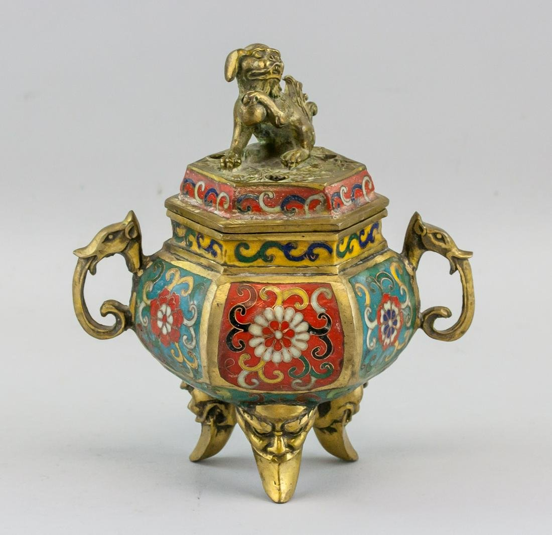 Chinese Bronze Cloisonne Lion Censer Qianlong Mark