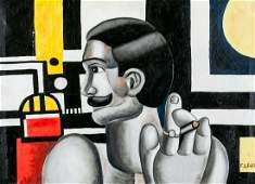 Atelier Fernand Leger French Cubist Oil on Canvas
