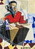 Gino Severini Italian Futurist Gouache on Paper