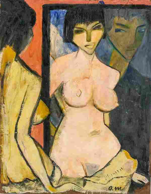 Otto Mueller German Expressionist Oil on Paper
