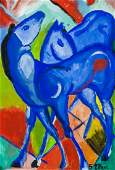 Franz Marc German Expressionist Oil on Paper