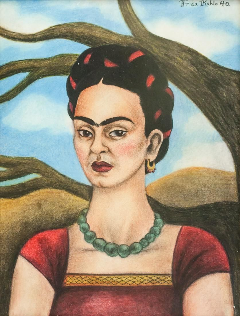 Frida Kahlo '40 Mexican Pastel on Paper
