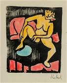 German Expressionist Litho Paper Signed Illegibly