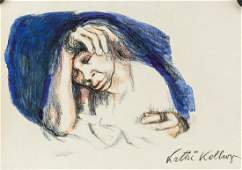 Kathe Kollwitz Watercolor Charcoal on Paper
