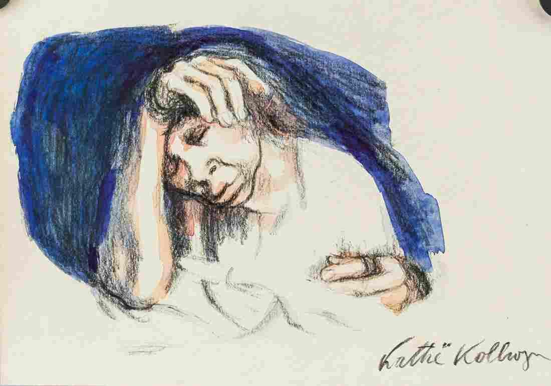 Kathe Kollwitz Watercolor Charcoal on Paper
