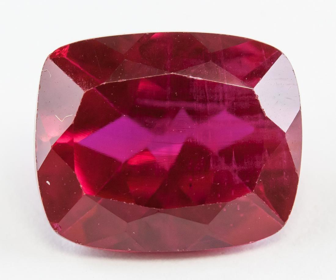 6.55ct Cushion Cut Pinkish Red Ruby Gemstone GGL