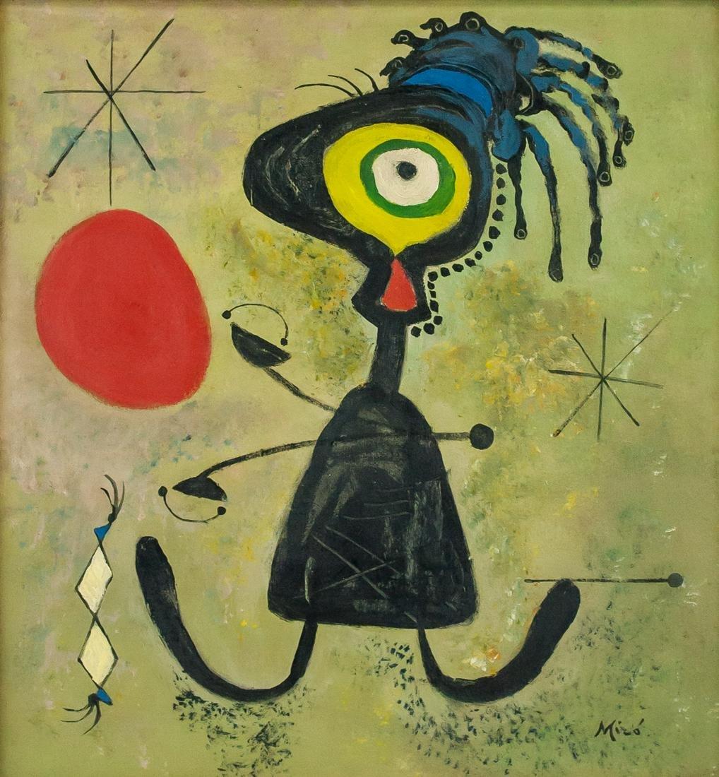 Joan Miro Spanish Surrealist Oil on Panel Abstract