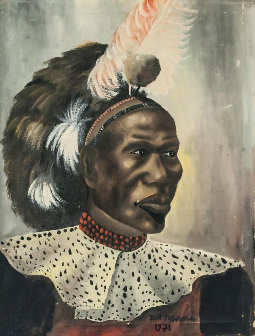 Ben Enwonwu Nigerian Modernist OOC Portrait 1971