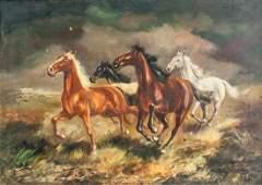 German Oil on Canvas Signed H Riedmann