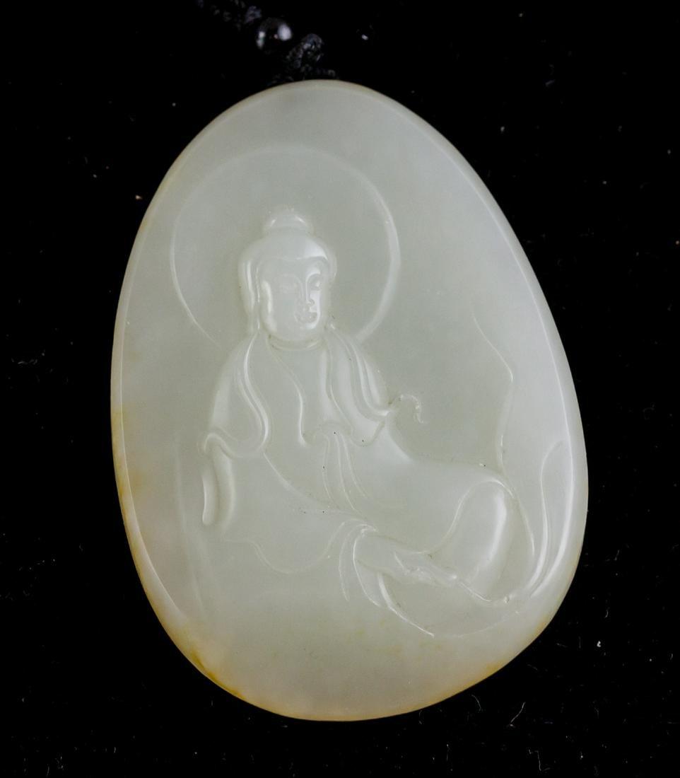 Chinese Hetian White Jade Guanyin Pendant COA