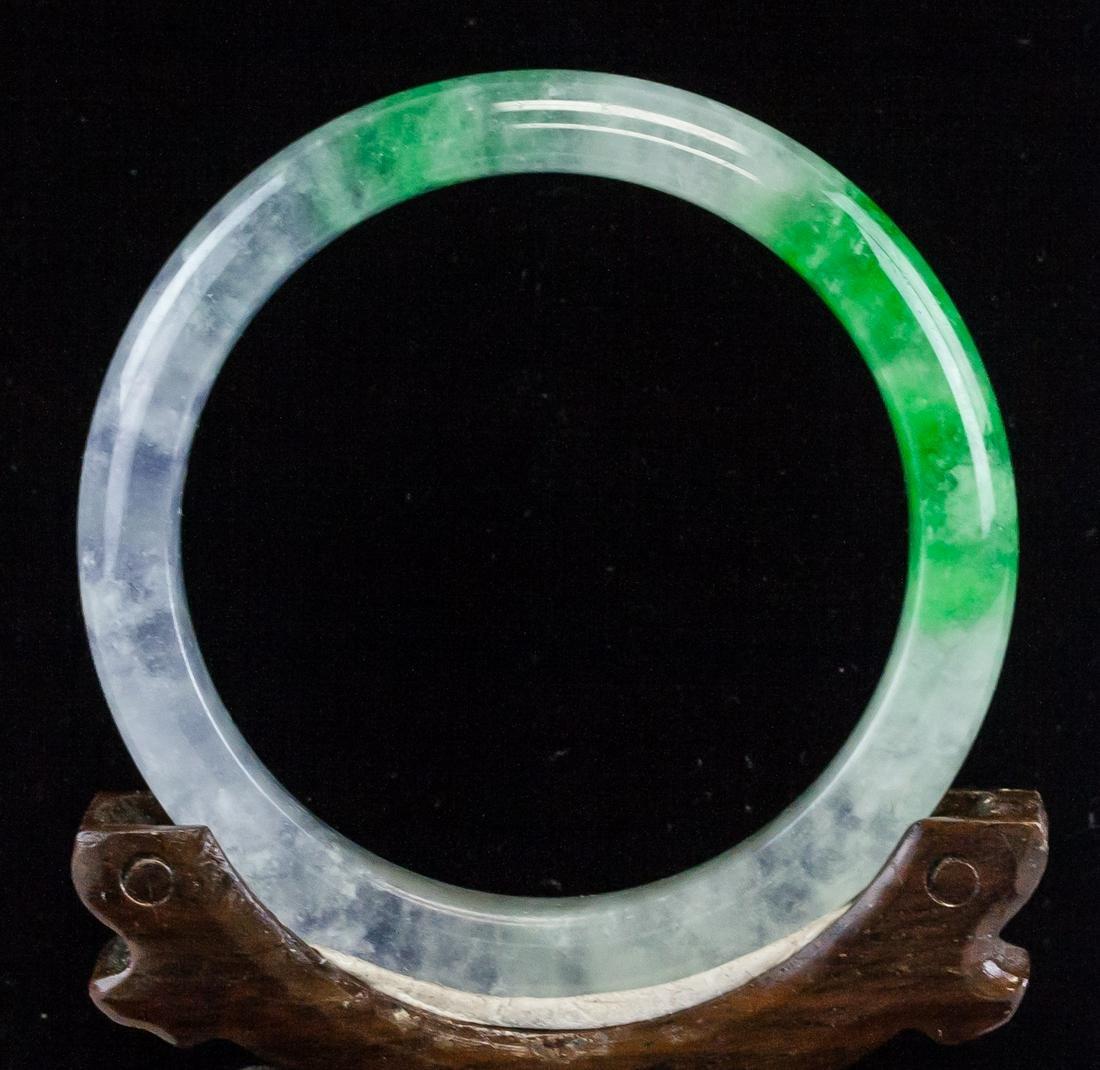 Burma Green and Icy Jadeite Bangle